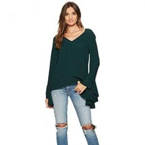 NWT 1.State V Neck Cascade Sleeve Blouse Green S